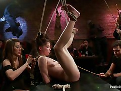 This babe was a very bad angel and the public is determined to give her a disgraceful punishment. Look how this babe hangs there tied up and with her bawdy cleft on display, waiting to receive screwed hard and deep. Her wait is soon over as a man inserts his erect pecker unfathomable in her delicious vagina, wonder if that chap will cum in her?