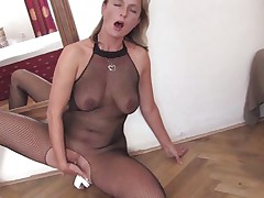 Mature golden-haired doxy is very hot and horny. This chick is wearing hot pantyhose and high heels during the time that and lays on the floor, fucking her tight vagina with a large dildo. This chick has nice tits and a pretty face hole that is perfect for sucking that sextoy after that chick finishes fucking her cunt with it, will that chick do that?