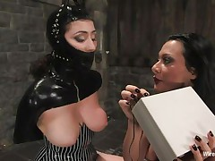 Sandra is a Romanian whore, this babe fulfills her dream as a bitch goddess and we get to watch her doing what this babe loves most. With an obedient, bound up sex slave in front of her Sandra does her life time excitement and punishes the chick. She uses electric shocks and then a stick on those hawt thighs and hot ass