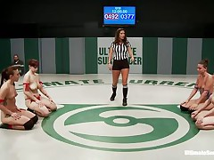 `Four horny lesbos are wrestling in 2 teams, blue and red. And these honeys are fighting naked, showing their admirable boobs and booties as well as their pussies! Watch them grapple each other and tit groping with fingering; those count as points. And finally the winners will have the chance of fucking the losers!`