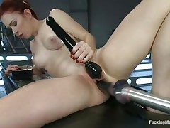 Young Melody Jordan is loving this fucking machine and a sex toy for her clit. Her love tunnel takes a pounding as this honey turns the dial up, making the machine fuck her even faster. After a short break, this honey goes nearly upside down to receive drilled, her shaved snatch taking a beating that this honey loves. She's hot!