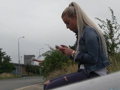 So I spot a hawt golden-haired hotty at the bus stop. This Sweetheart didn't realise that the bus that babe was expecting for was going to be some other 45 minute.  I offered her a lift home in my car.  On the way to her abode I offered her a fake job, but that babe must prove how much this babe really wanted the job.