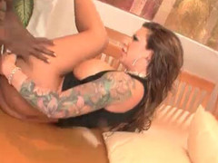 Tattooed slut takes it in one as well as the other holes