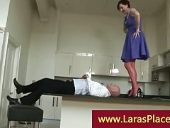 Liciking cookie over the balcony kitchen by a horny bold guy
