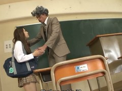 Hawt dark brown hair student Ria Sakurai receives exposed for school principal after the classes and receives her slit stimulated by vibrator in advance of that playgirl gives head to him and other professors on her knees and getting banged hardcore in group sex session on the desk