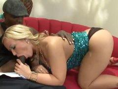 Curvy large tits blonde loves the black jock