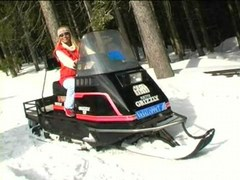 Coldresistant sweetheart disrobes on snowmobile
