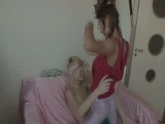 lesbos fucking with strap vibrator
