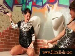 Nasty wet milfs overspread in bukakke ball cream playing with dick from the gloryhole