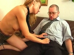 Blonde seduces her boss and copulates him